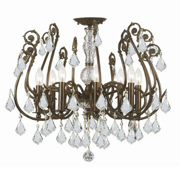 Crystorama Regis Collection English Bronze 8 Light Semi Flush Mount