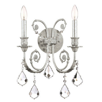Crystorama Regis Collection Olde Silver 2 Light Wall Sconce