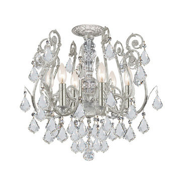 Crystorama Regis Collection Olde Silver 6 Light Semi Flush Mount