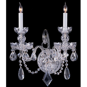 Crystorama Traditional Crystal Collection 2 Light 6-Crystal Wall Sconce