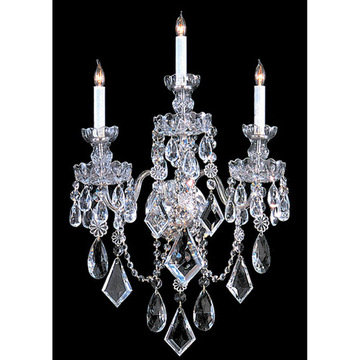 Crystorama Traditional Crystal Collection 3 Light 8-Crystal Wall Sconce