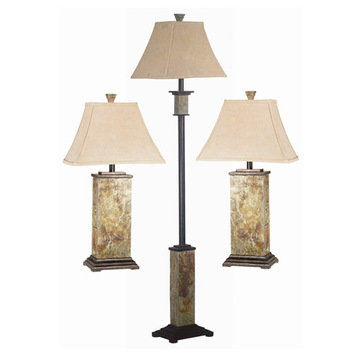 Kenroy Home Bennington 3 Pack - 2 Table Lamps, 1 Floor Lamp