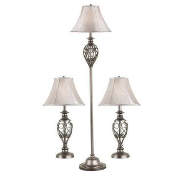 Kenroy Home Cerise 3-Pack - 2 Table Lamps, 1 Floor Lamp
