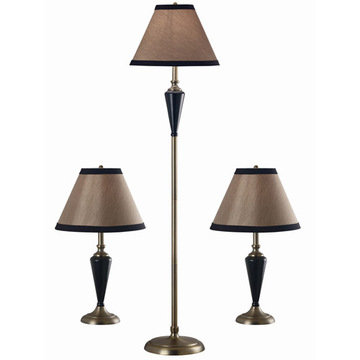 Kenroy Home Hunley 3 Pack - 2 Table Lamps, 1 Floor Lamp