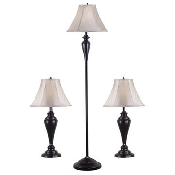 Kenroy Home Kylie 3-Pack - 2 Table Lamps, 1 Floor Lamp