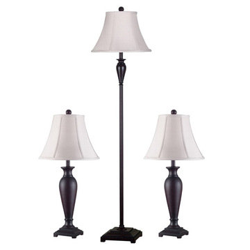 Kenroy Home Noble 3-Pack - 2 Table Lamps, 1 Floor Lamp