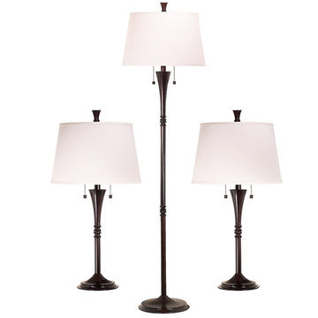 Kenroy Home Park Avenue 3-Pack - 2 Table Lamps, 1 Floor Lamp
