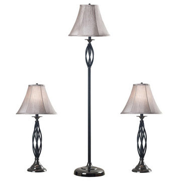 Kenroy Home Sperry 3-Pack - 2 Table Lamps, 1 Floor Lamp