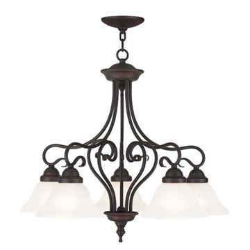 Livex Lighting Coronado 5 Light Chandelier with Shades Down