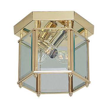 Livex Lighting Home Basics 2 Light Hexagon Ceiling Light With Clear Glass