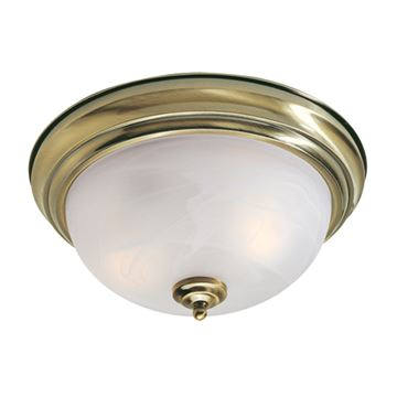 Livex Lighting Home Basics Flush Ceiling Light With White Alabaster Glass