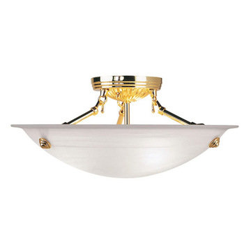 Livex Lighting Home Basics Polished Brass Semi Flush Ceiling Light