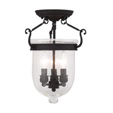 Livex Lighting Jefferson 14 Ceiling Mount Light with Seeded Glass