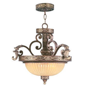 Livex Lighting Seville 3 Light Convertible Chain Or Ceiling Mount Light