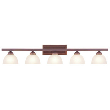 Livex Lighting Somerset 5 Light Vanity Light With Squared Back Plate