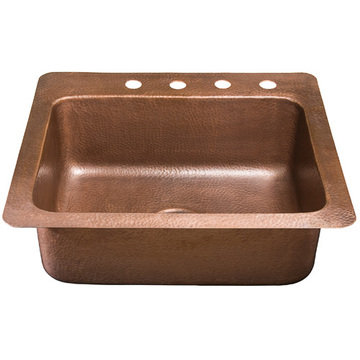 Copper Single Bowl Kitchen Sink With Faucet Deck