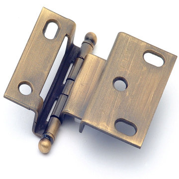 Classic Brass 3/8 Inch Offset Hinge With Ball Finial - 2 9/16 Inch