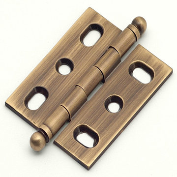 Classic Brass Ball Finial Mortise Hinge - 2 9/16 Inch X 9/16 Inch Leaf