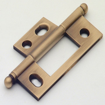 Classic Brass Ball Finial Non-Mortise Hinge - 3 3/32 Inch
