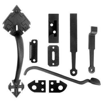 Acorn Adobe Gate Latch Set - Doors Up To 4 Inch Thick