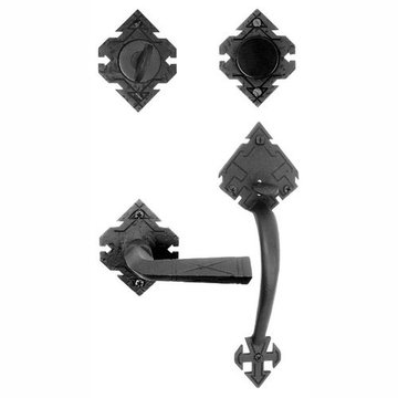 Acorn Adobe Interior/Exterior Latch Set Handle With Lever Lock Set