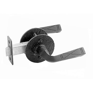Acorn Double Lever Latch Set With Round Backplate And Straight End Lever - 2 3/8 Inch Backset