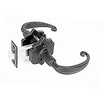 Acorn Double Lever Latch Set With Warwick Backplate And Curled End Lever - 2 3/8 Inch Backset