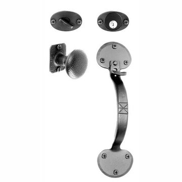 Acorn Entrance Door Mortise Lock Set Handle With Knob Bean Ends - Smooth 10 3/16 Inch