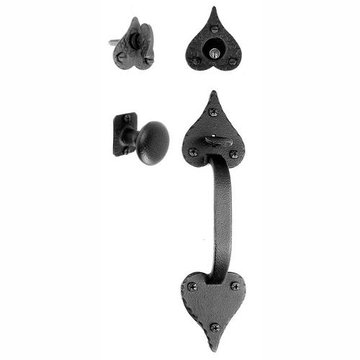 Acorn Entrance Door Mortise Lock Set Handle With Knob Heart Ends - Rough 10 5/8 Inch