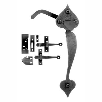 Acorn Heart Rim Latch Passage And Closet Combination Rough Iron Finish