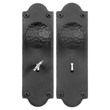 Acorn Mortise Skeleton Key Lock Set Rounded End With Hammered Round Knobs