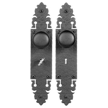 Acorn Mortise Skeleton Key Lock Set Warwick With Hammered Round Knobs