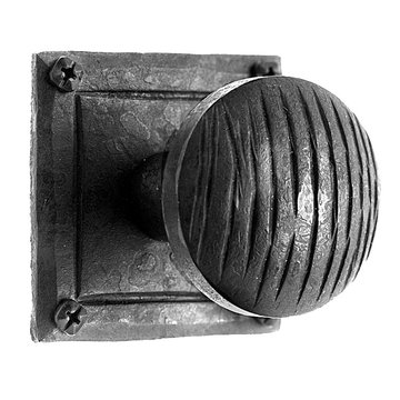 Acorn Ridged Door Knob Set With Flat Rose - 2 Inch Diameter