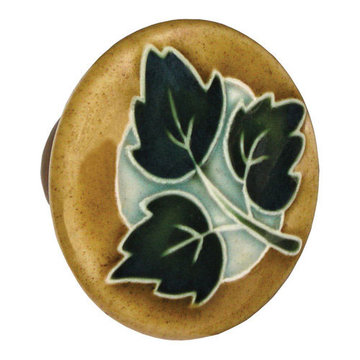 Acorn Round Hand Painted Porcelain Knob - Brown With Three Green Leaves