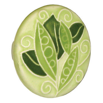 Acorn Round Hand Painted Porcelain Knob - Green With Peas In Pods