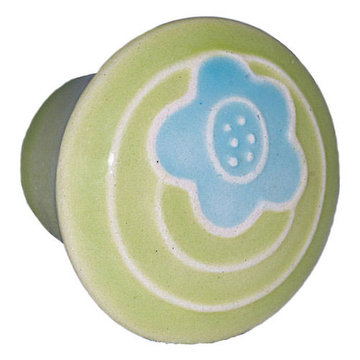 Acorn Round Hand Painted Porcelain Knob - Green With Single Blue Flower
