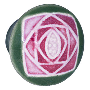Acorn Round Hand Painted Porcelain Knob - Green With Square Mauve Rose