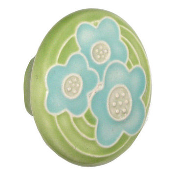 Acorn Round Hand Painted Porcelain Knob - Green With Three Blue Flowers