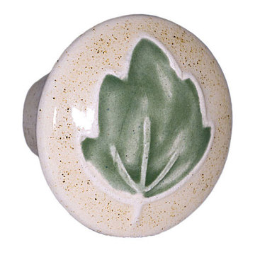 Acorn Round Hand Painted Porcelain Knob - Tan With Green Leaf
