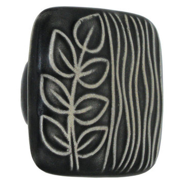 Acorn Square Hand Painted Porcelain Knob -  Black And White Sea Grass