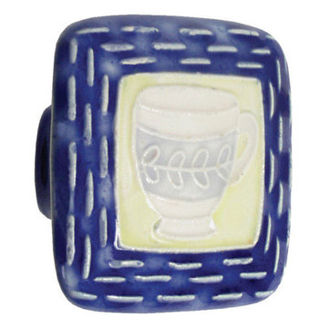 Acorn Square Hand Painted Porcelain Knob -  Blue And Yellow With Teacup