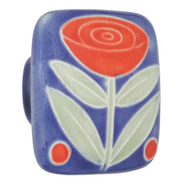 Acorn Square Hand Painted Porcelain Knob -  Dark Blue With Flower And Berries