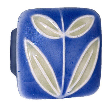 Acorn Square Hand Painted Porcelain Knob -  Dark Blue With Leaves