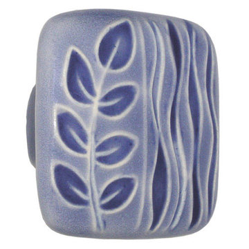 Acorn Square Hand Painted Porcelain Knob -  Light Blue With Blue Sea Grass