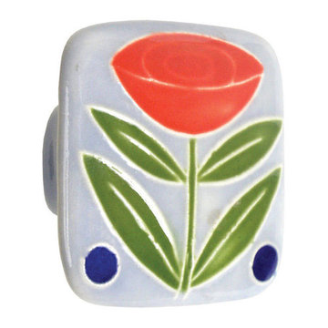 Acorn Square Hand Painted Porcelain Knob -  Light Blue With Flowers And Berries