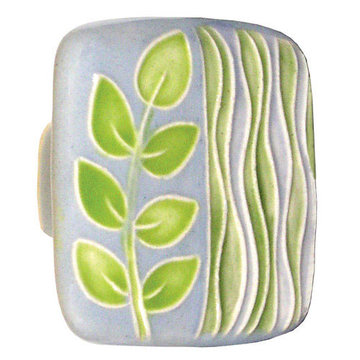 Acorn Square Hand Painted Porcelain Knob -  Light Blue With Sea Grass