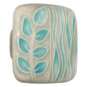 Acorn Square Hand Painted Porcelain Knob -  Light Green And Teal Sea Grass