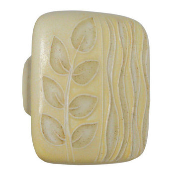 Acorn Square Hand Painted Porcelain Knob -  Yellow And Gold Sea Grass