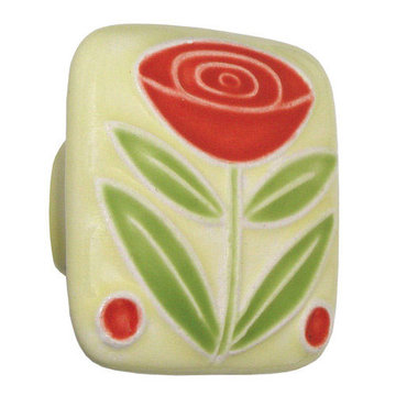 Acorn Square Hand Painted Porcelain Knob -  Yellow With Flower And Berries