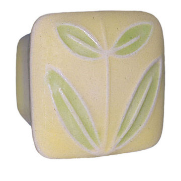Acorn Square Hand Painted Porcelain Knob -  Yellow With Leaves